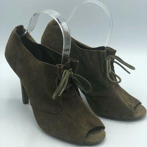 BCBG green suede open toe heeled bootie 8